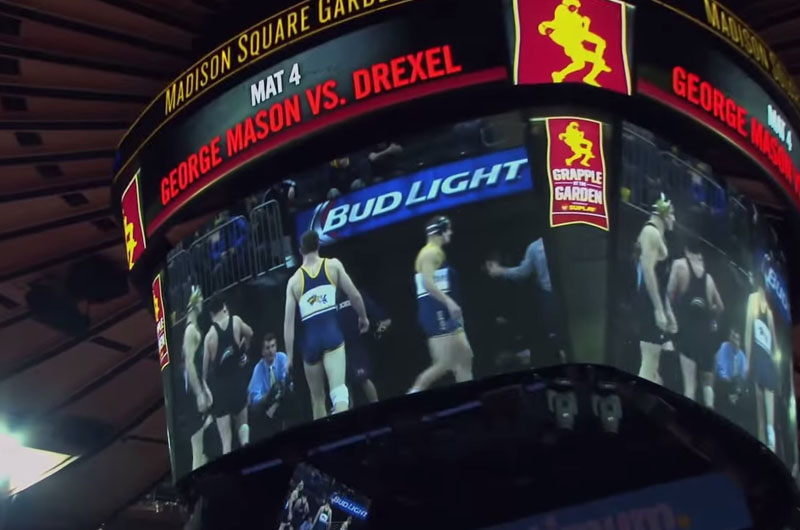 Drexel wrestling on the video screen at Madison Square Garden.