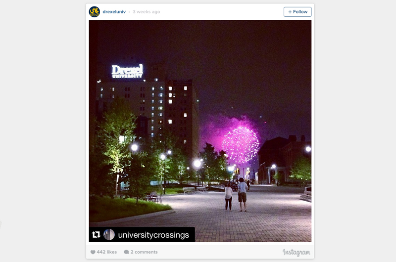 An Instagram post depicting fireworks seen from Perelman Plaza at Drexel.