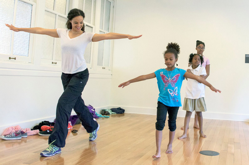 Valerie Ifill, of the Drexel dance program, teaching young community members at the Dornsife Center. Photo by Jennifer Britton.