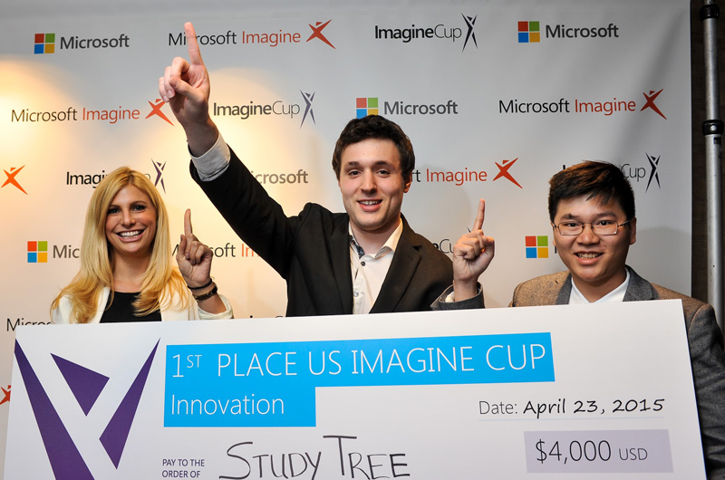 The StudyTree team after winning the Microsoft Imagine Cup United States Final, from left to right, Robyn Freedman, Ethan Keiser, and Phuoc Phan. Courtesy of Microsoft.