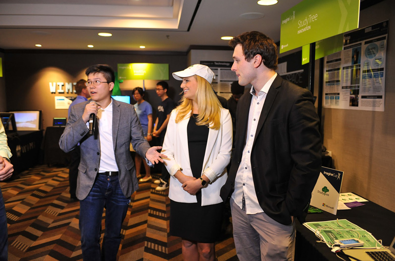 The StudyTree team during their presentation at the Microsoft Imagine Cup United States Finals. Courtesy of Microsoft.