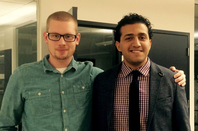 Connor White, co-founder, left, and Mohamed Zerban, right, founder, of Tern, a company incubated in the Baiada Institute for Entrepreneurship.