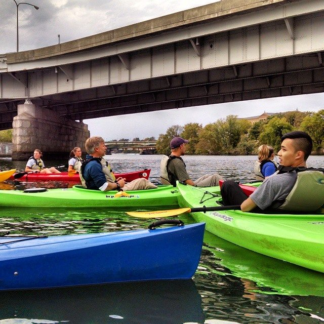 Kayaking on the Schuylkill River. Photo by Vincent O'Leary, BS environmental science '18.