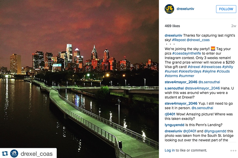 The Philadelphia skyline after a storm, as depicted in an Instagram post by Drexel's College of Arts and Sciences.