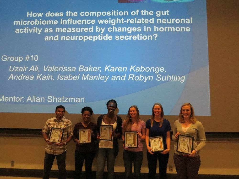 Uzair Ali, Valerissa Baker, Karen Kabonge, Andrea Kain, Isabel Manley and Robyn Suhling at the Senior Seminar Reception.