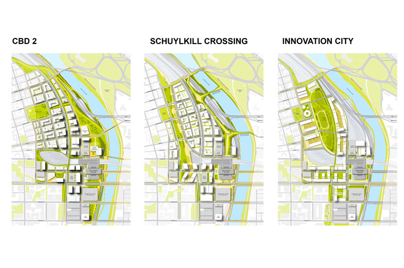 Diagrams of rail yard district concepts