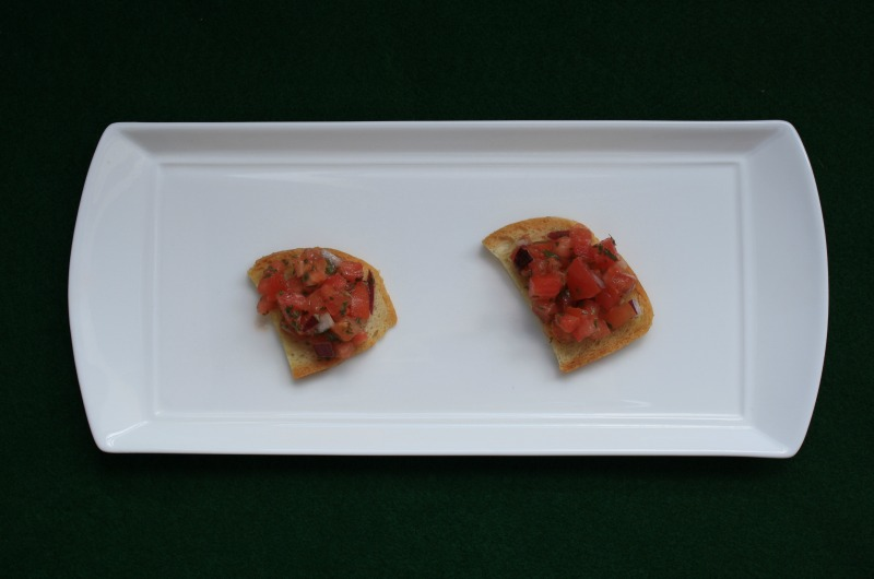 The mediocre bruschetta used in Jacob Lahne's study.