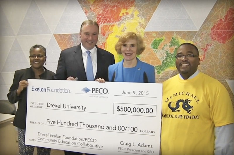 Phot of PECO Exelon grant check presentation