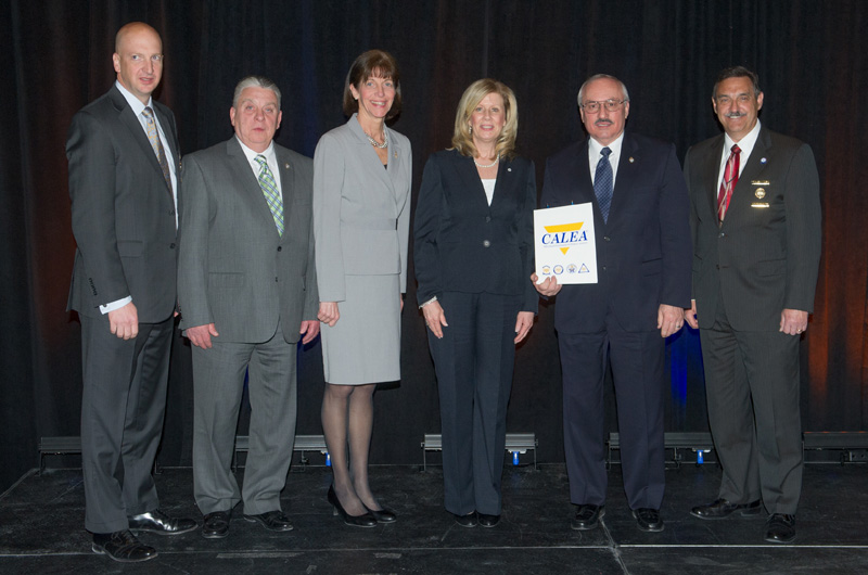At the awarding of the Drexel Police's reacreditation, from left to right, W. Craig Hartley Jr., executive director of Commission on Accreditation for Law Enforcement Agencies, Inc., Robert Lis, associate director of investigations, Drexel Police, Eileen Behr, director of police operations, Drexel Police, Jane Kelly, accreditation manager, Drexel Police, Domenic Ceccanecchio, vice president of Drexel Public Safety, and Richard W. Myers, chairman, Commission on Accreditation for Law Enforcement Agencies Inc.