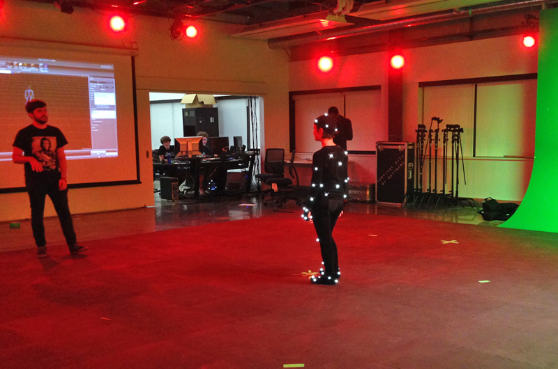 Students working in the Motion Capture Studio at Drexel.