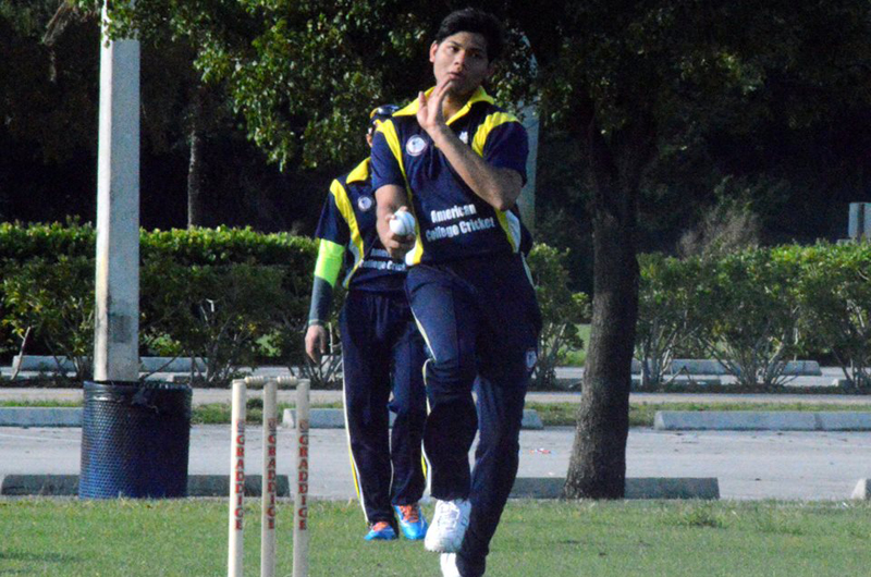 Kush Navinchandra bowling for Drexel's Club Cricket Squad. Photo by American College Cricket.