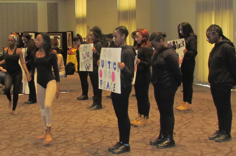 The Blue Diamond Step Team performing at the Black History Month Closing Reception.
