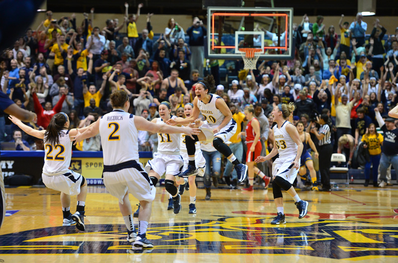 The moment the women's basketball team won the Women's National Invitation Tournament in 2013. Photo by Greg Carroccio/Sideline Photos.