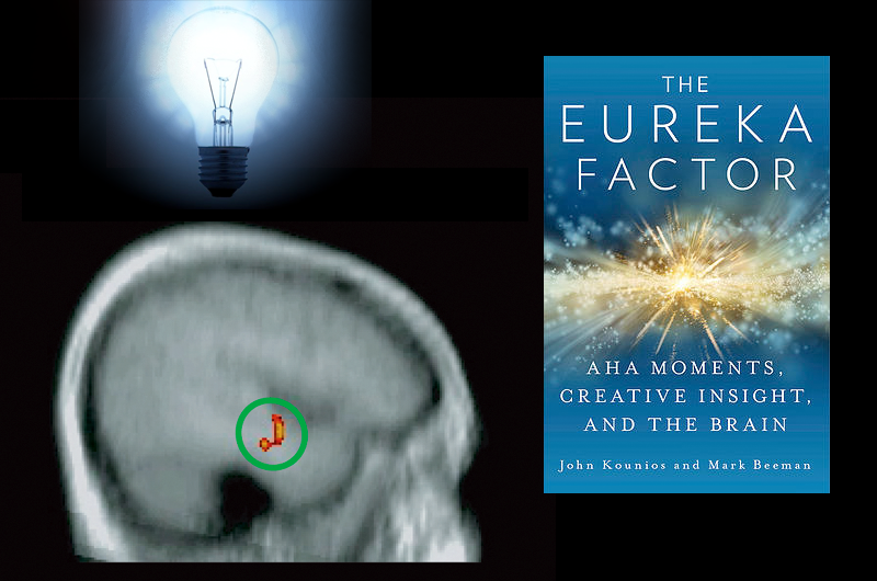 "Collage of brain image, lightbulb and cover of the book ""The Eureka Factor"". Credits: Lightbulb by lilbitgimpy CC BY-NC 3.0; Brain by Beeman et al PLOS Biology; Eureka Factor courtesy of Random House"
