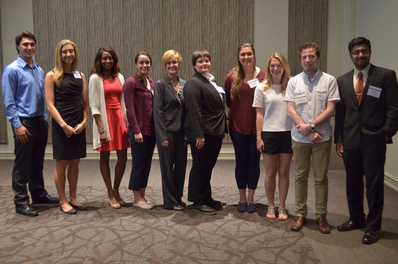 The 2015 Cooperative Education Award student winners, from left, Edmund Lynn, Pepco Holdings, Inc.; Lia Arakelian, Bimbo Bakeries; Hailey Smith, Steinbright Career Development Center; Danielle Cole, Children's Hospital of Philadelphia; Nicole Dykstra, Philadelphia Zoo; Colleen Blaho, recipient of the Bentley Systems Career Networking Award; Alexandra Zeitz, High Street on Market; Casey Sneider, The Math Forum; Alexander Koszycki, Sanofi; and Rishon Benjamin, Inolex, Inc.