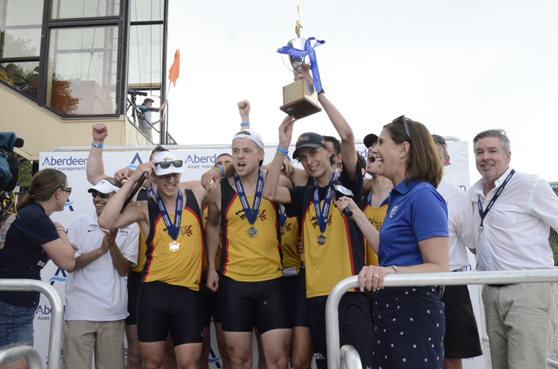 The men's varsity eight team celebrating at last year's Dad Vail Regatta.