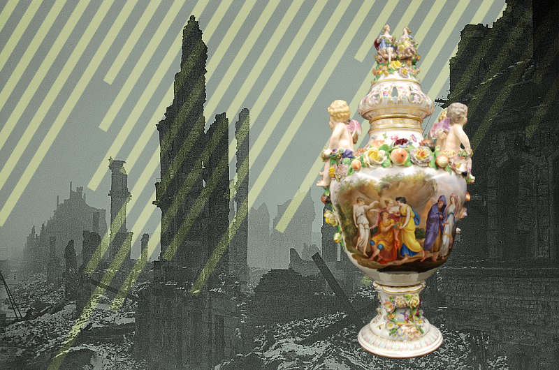 Drexel's imitation Meissen urn that was created in Dresden about half a century before the city was bombed.