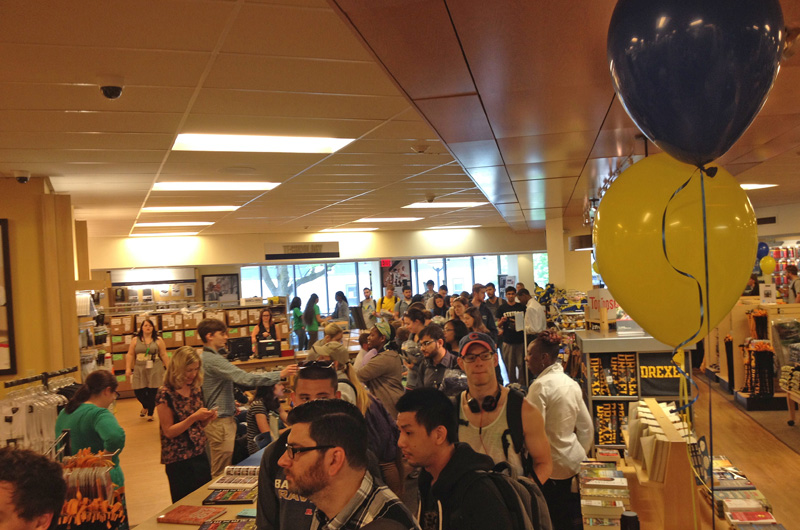 The scene at Drexel's annual grad fair in the Barnes & Noble Bookstore.