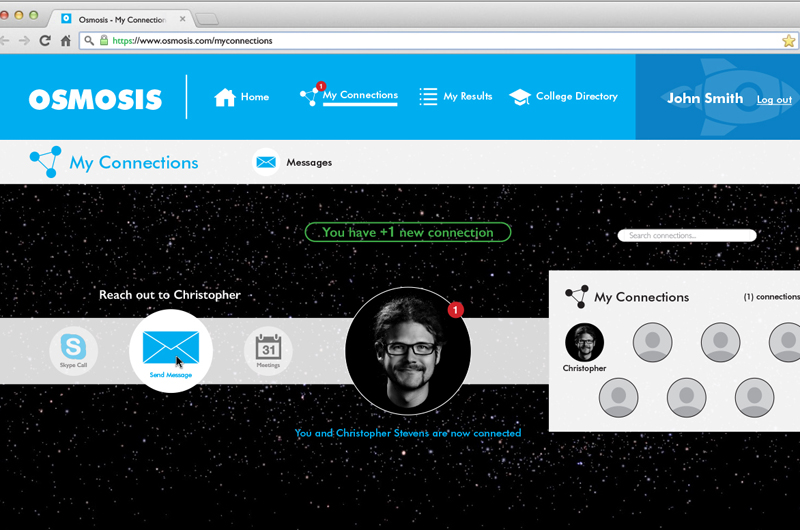 "Sean Preston's ""Osmosis"" is an outer-space-themed online tool designed to help students explore career options."