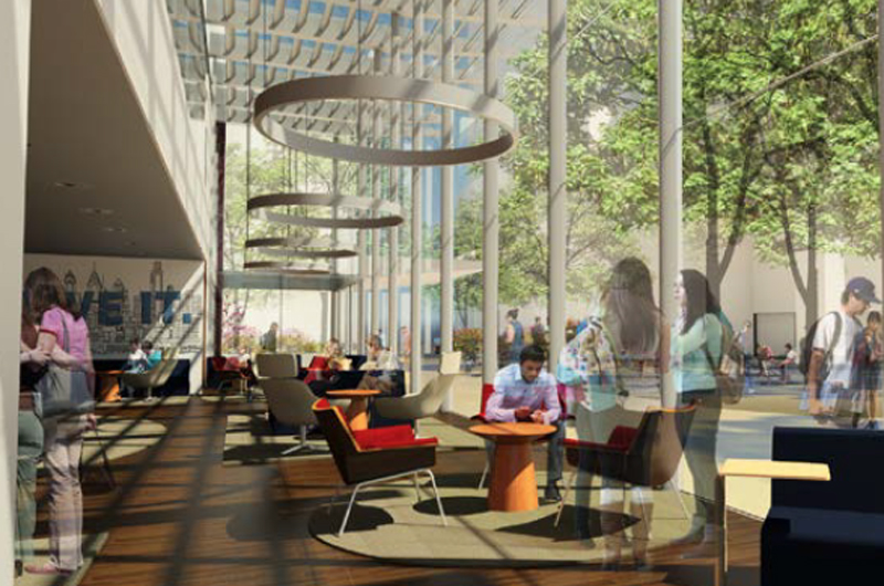 Rendering of the interior of the Korman Center's proposed solarium.