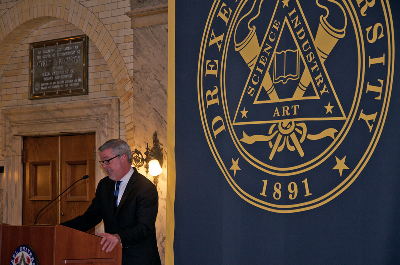"President John A. Fry speaking at the celebration of the Liberty Scholars set to finish their degrees in 2015. Fry told those gathered to support the students that they ""must be bursting with pride."""