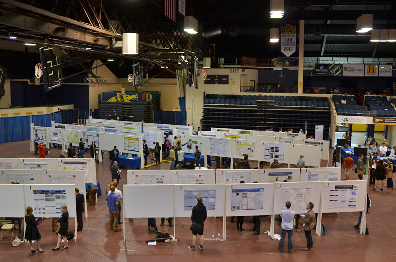 One side of Drexel Research Day set up on the basketball court in the Daskalakis Athletic Center.