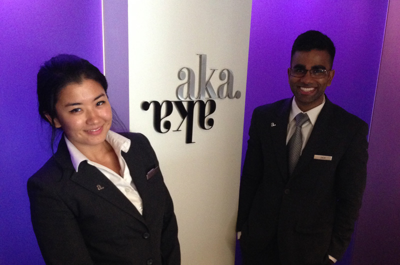 Kiki Liu (left) and Zachary Perera (right) inside their AKA Hotel in Rittenhouse Square.