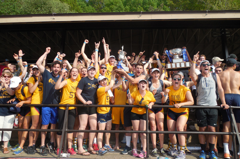 Drexel crew celebrating their third straight overall championship at the Aberdeen Dad Vail Regatta.