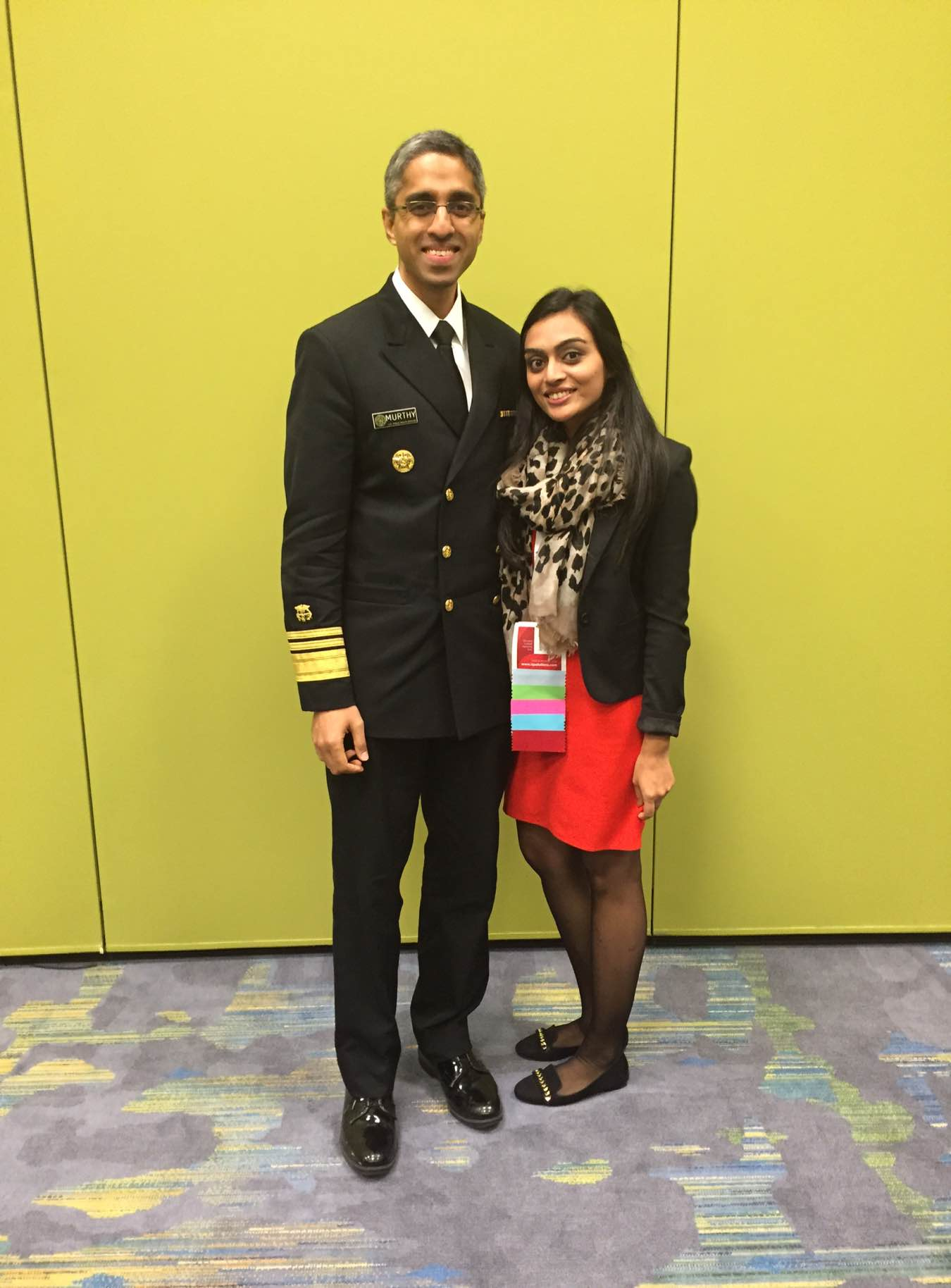 While at the American Public Health Association (APHA) 2015 Annual Meeting in Chicago, Kushali Amin, MPH '16, met Vivek Murthy, MD, surgeon general of the United States.
