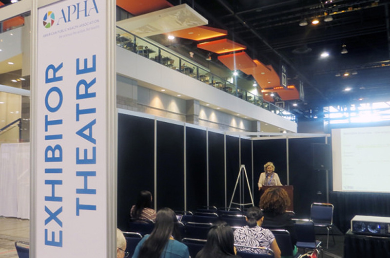 A presenter at the 2015 American Public Health Association's 143rd annual meeting and expo. Photo by Michael Late, courtesy of APHA.)