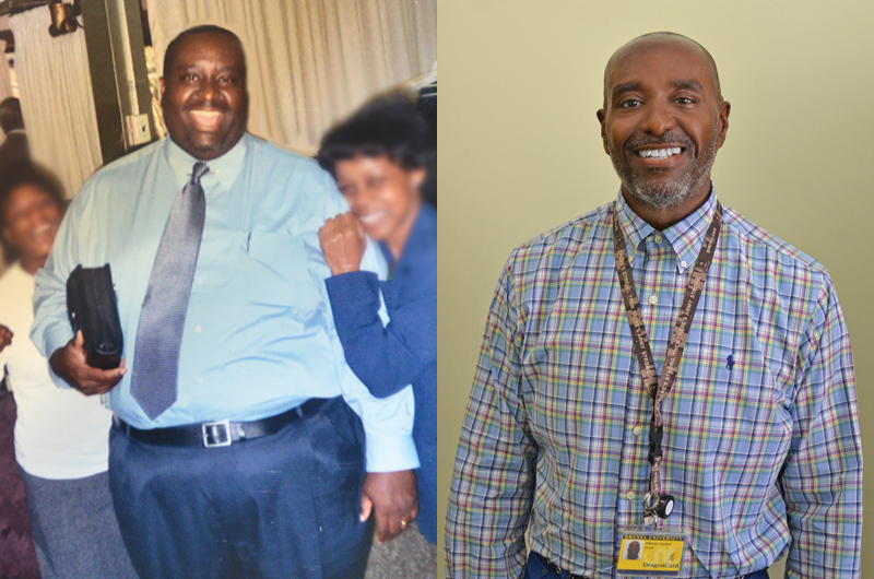 Jerome Wilson before and after he began his fitness journey at Drexel.