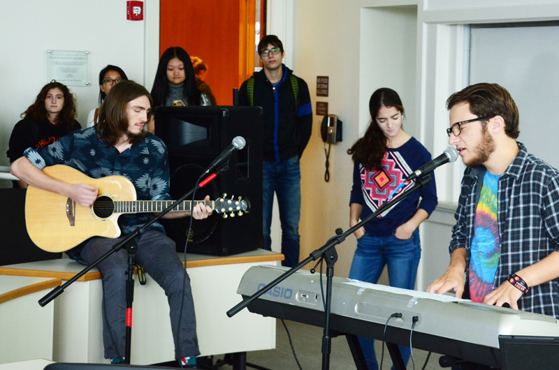 Student musicians play during a recent live case-study of the School of Rock in a LeBow College of Business marketing course. Photo by Susan Rinaldi.