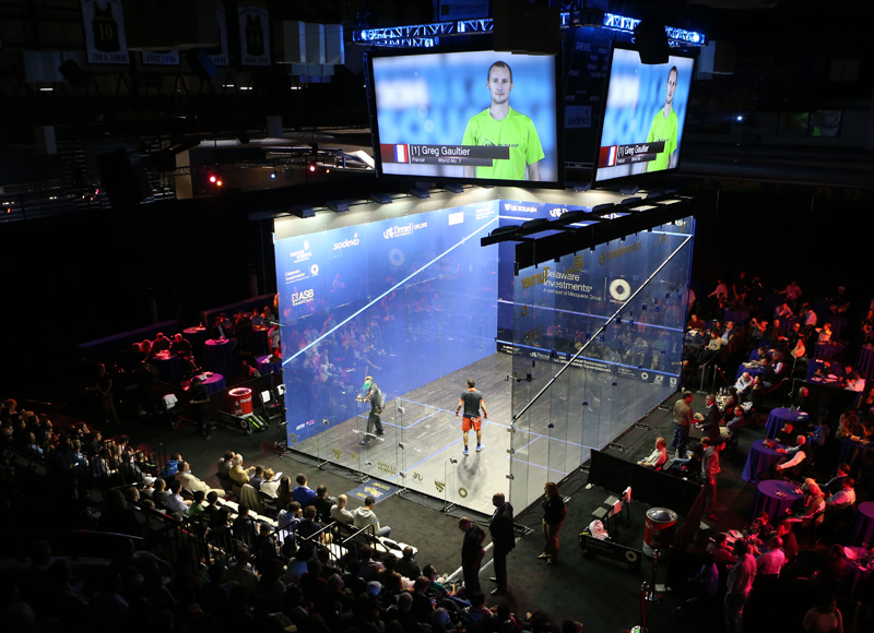 The court set up for the U.S. Open in the Daskalakis Athletic Center. Photo by Steve Line/SquashPics.com.