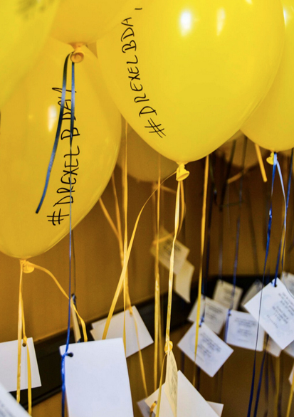 Some of the balloons that were put around campus announcing the birthday celebration. Photo by Ola Baldych.