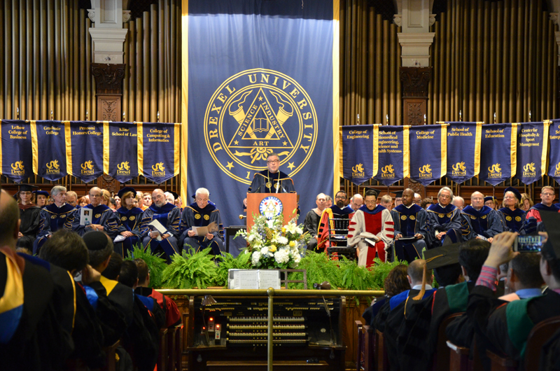 President John A. Fry speaking at the 2015 Drexel Convocation.