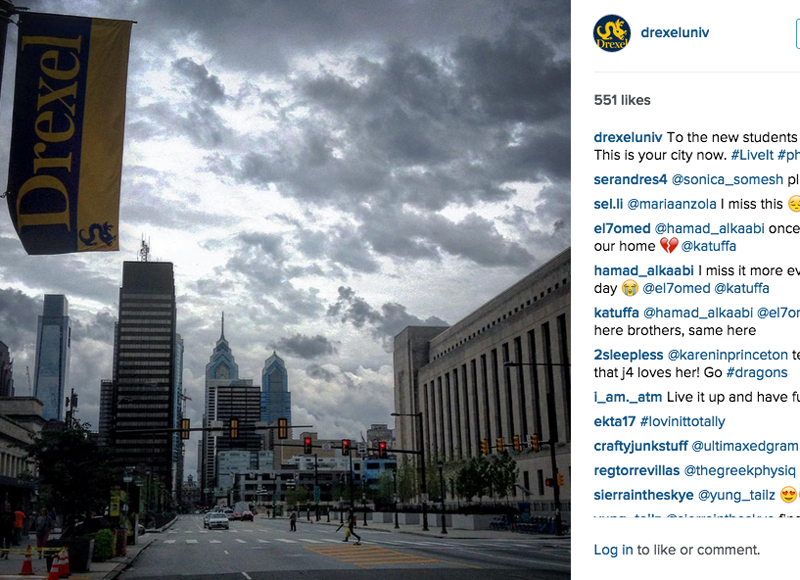 "The Philadelphia skyline on a grey day in an Instagram post telling new Drexel students that the ""city is yours."""