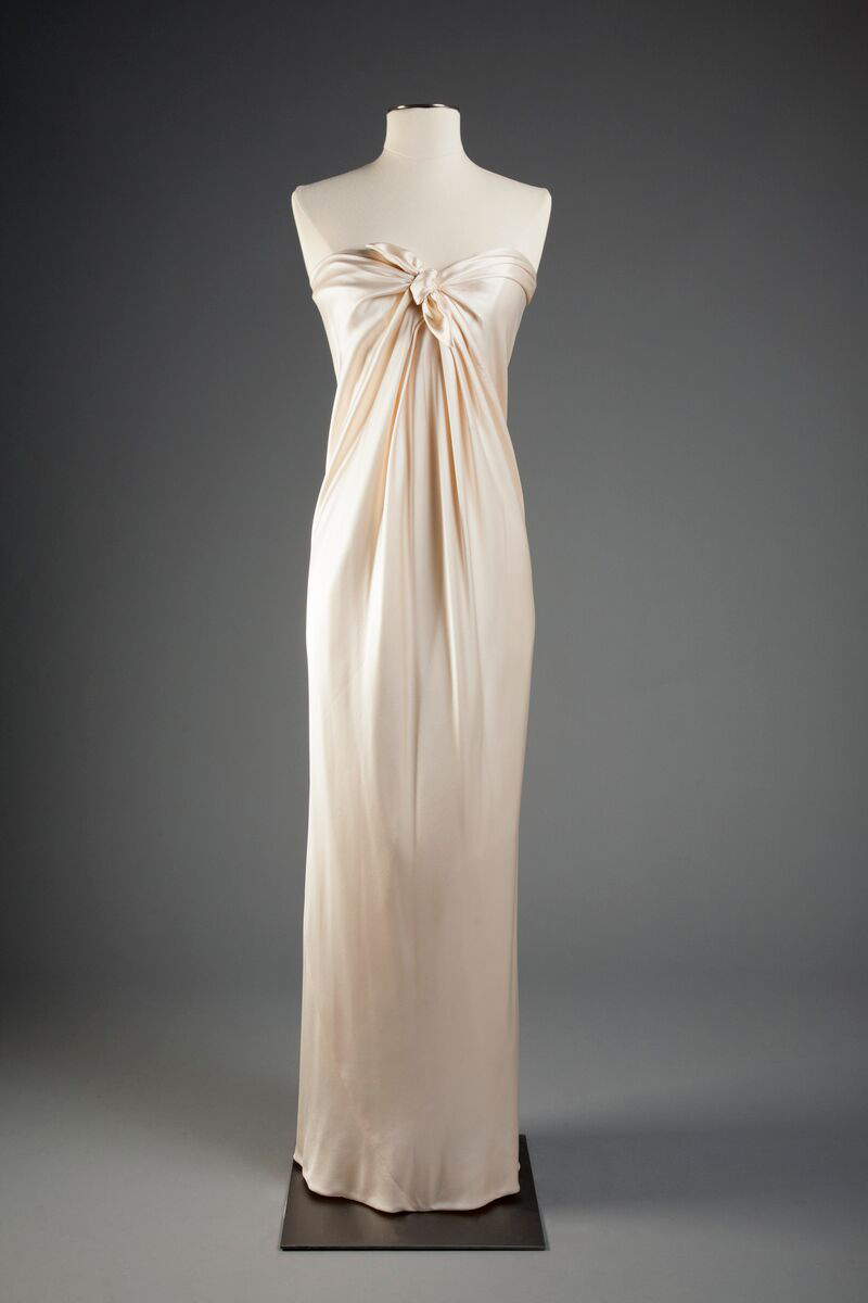 American evening gown by Halston, circa 1978, a gift of Sandra Blumberg. Photo by Michael J. Shepherd.