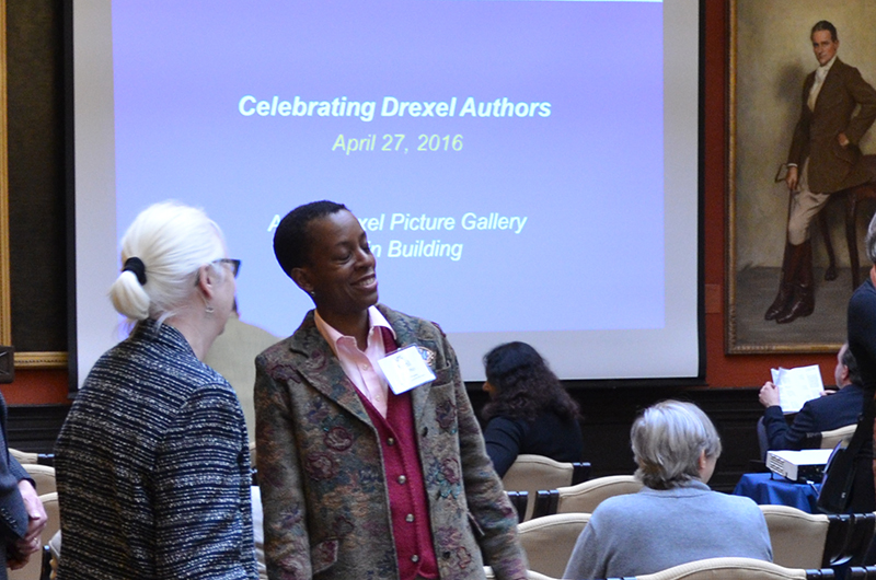 Ann Yurcaba chats with April James before the Celebrating Drexel Authors event.