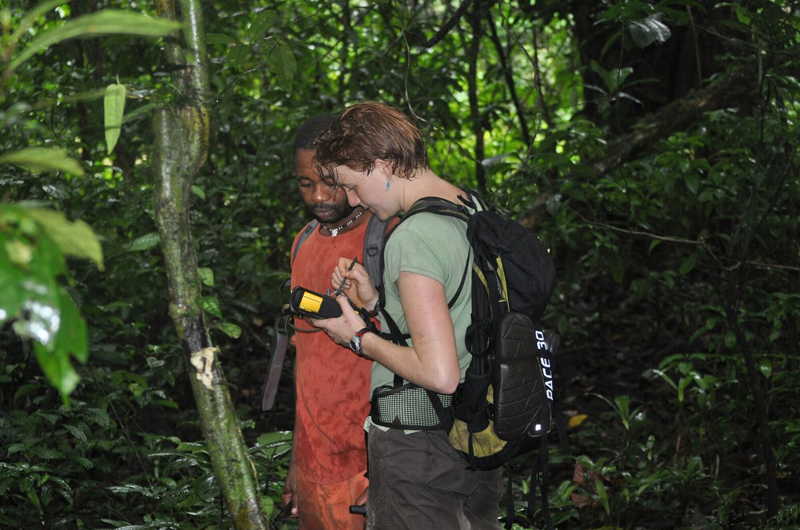 A pair of the researchers during their survey of Bioko Island looking for monkey groups and evidence of gun hunting. Photo by Elliott Chiu.