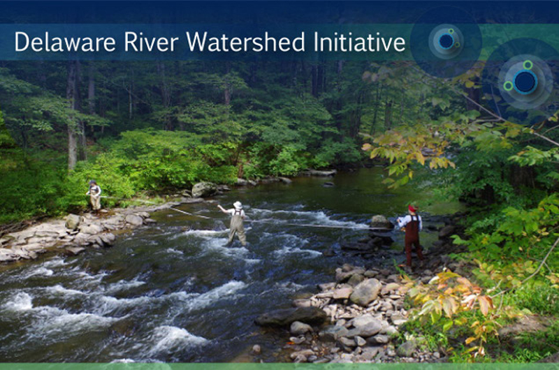 A photo of scientists working in the Delaware river watershed. Photo by Arielle Webster.