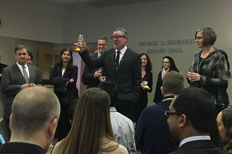 President John A. Fry toasts to Drexel's future at his first 2016 town hall meeting