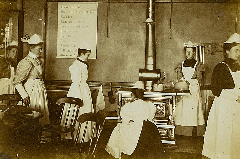 "This undated photo of a junior's class in cooking was taken in the early years at Drexel. Cookery classes were always part of Anthony ""Tony"" J. Drexel's vision for vocational training for women. Photo courtesy University Archives."