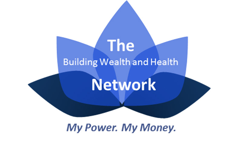 "Lotus logo for The Building Wealth and Health Network with the tagline ""My Power. My Money."""
