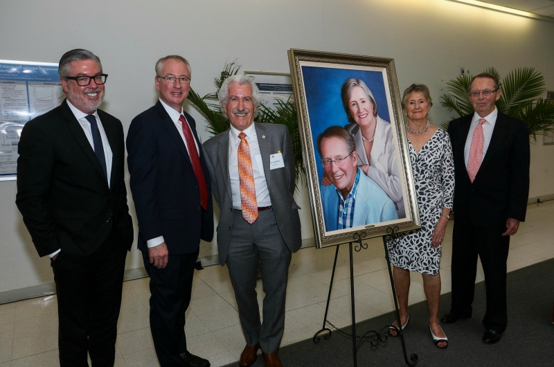 Pictured left to right: President John A. Fry, Dean Joe Hughes, Alexander Fridman, Christel Nyheim and John Nyheim.