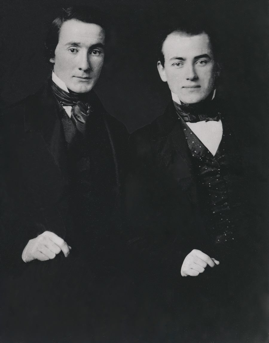 Tony Drexel, left, about 29 years old, is photographed with George W. Childs, about 26 years old, in 1855, the beginning of their lifelong friendship. Photo Courtesy Drexel University Archives.