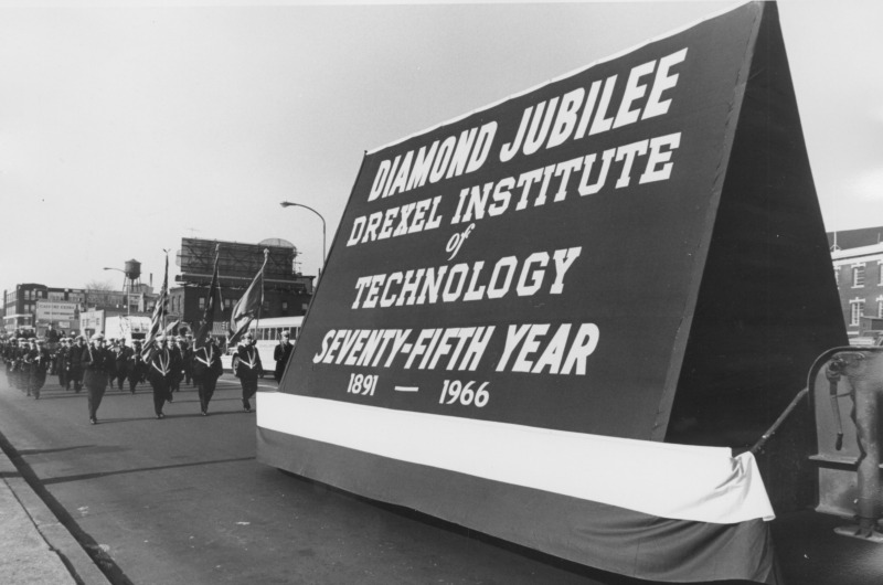 Drexel celebrated its 75th anniversary with a parade in 1966. Photo courtesy University Archives.