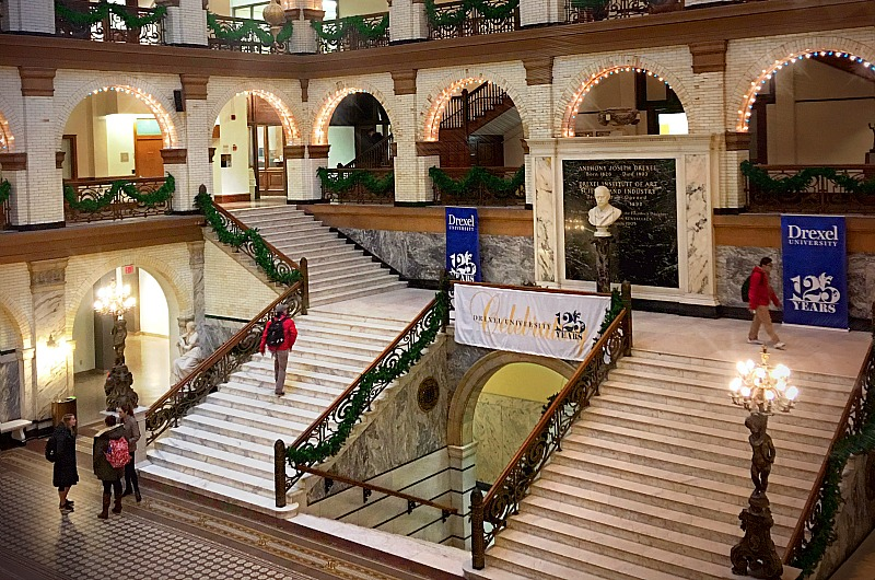 Drexel's Main Building is already decorated for the holidays and the 125th anniversary celebration.