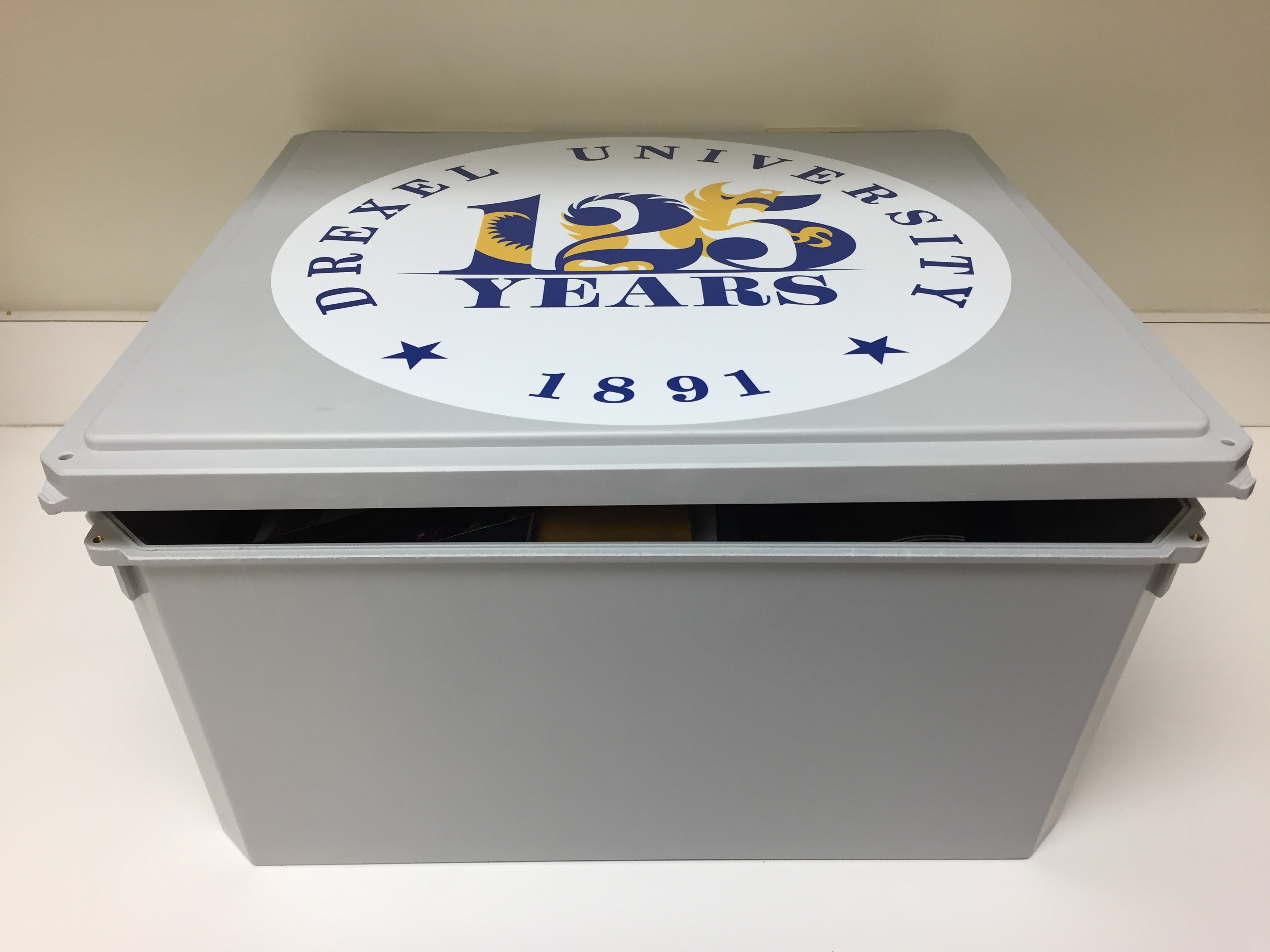 The official time capsule that will be buried for Drexel's 125th anniversary.