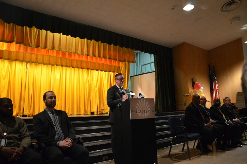 Drexel President John Fry speaks at Morton McMichael School.