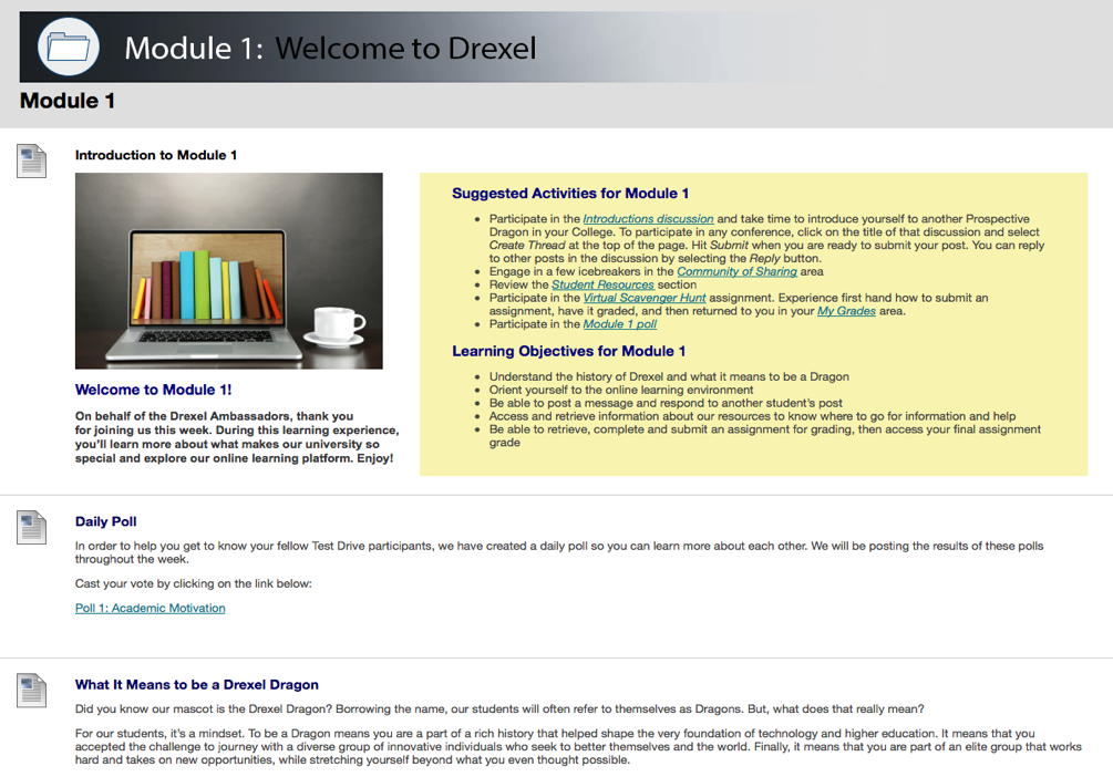 A screenshot of Drexel University Online's virtual Test Drive, which allows potential students to test out Drexel's virtual learning environment for a week at no cost before they apply.